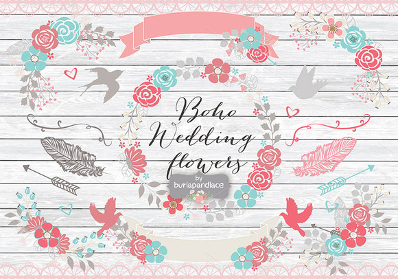 Boho Wedding Flower Cliparts