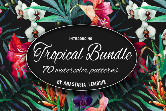 Tropical Patterns Bundle Watercolor