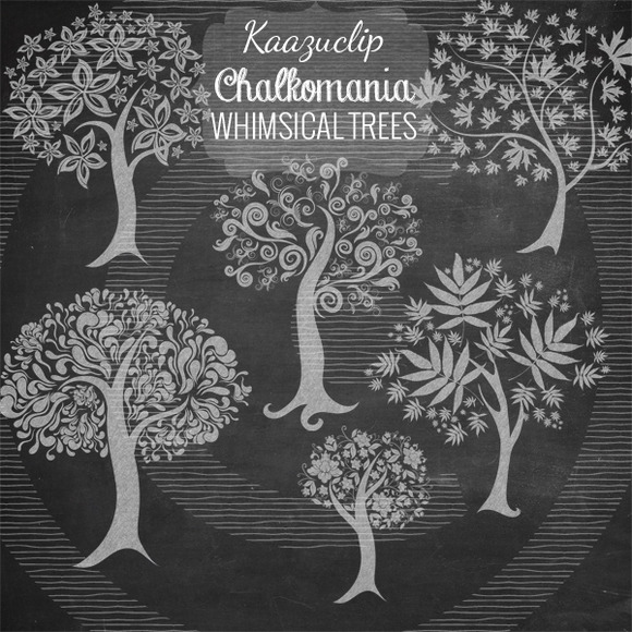 Chalk Whimsical Trees