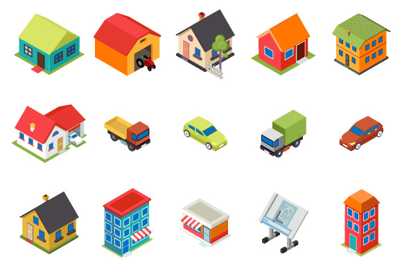 Isometric House And Car Icons Set