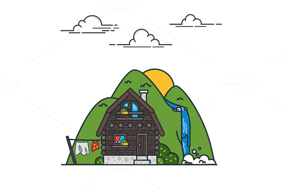Cottage And Mountains