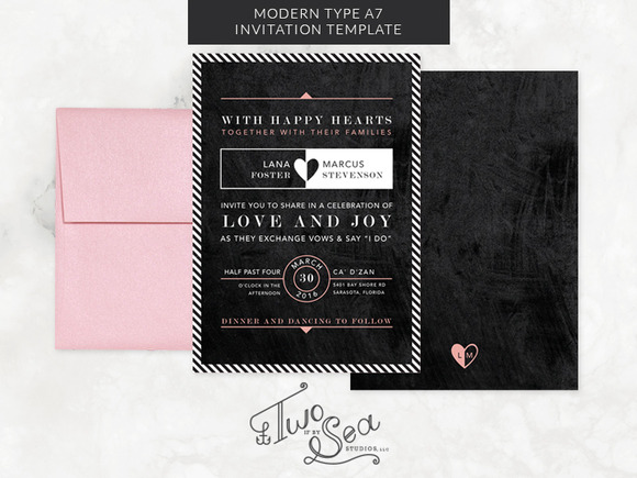 Modern Type Chalkboard Invitation