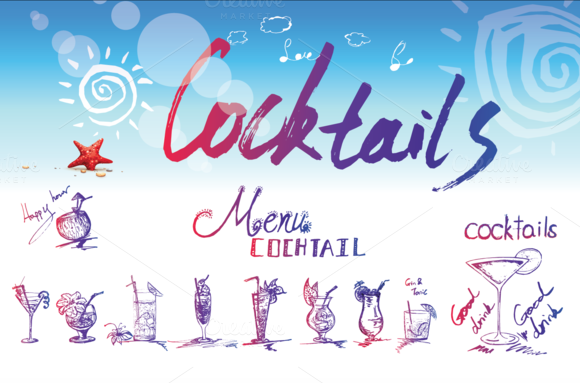 Cocktail Vintage Hand-drawn Style