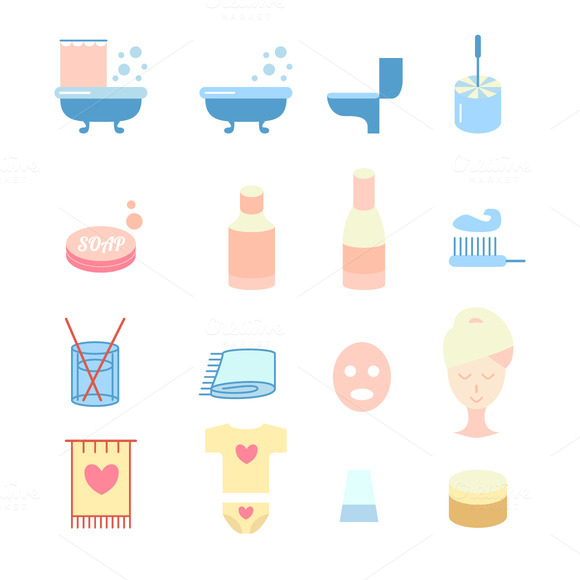 Vector Flat Bathroom Icons Set