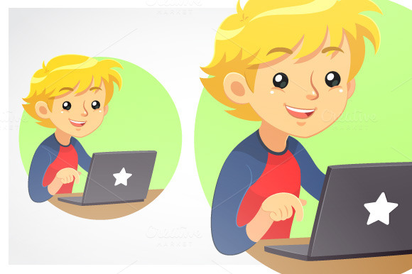 Boy Using Dark Grey Laptop