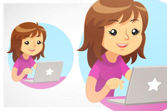 Girl Using Grey Laptop