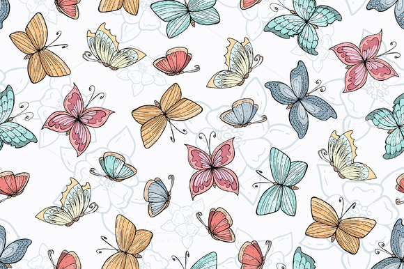 Pattern With Hand Drawn Butterflies