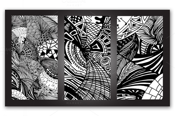 Triptych Abstract Doodles