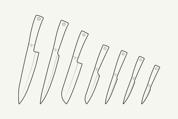 Outline Kitchen Knives