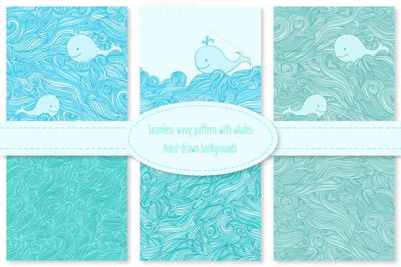 Whale In The Sea Waves Patterns Set