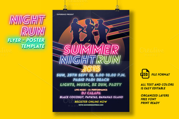 Night Run Event Flyer Poster