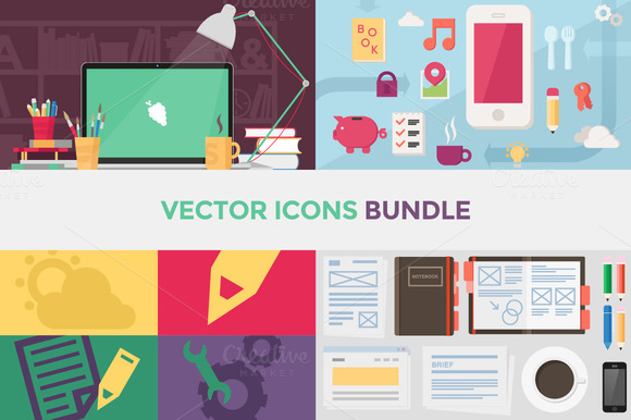 90 Vector Flat Icons Bundle