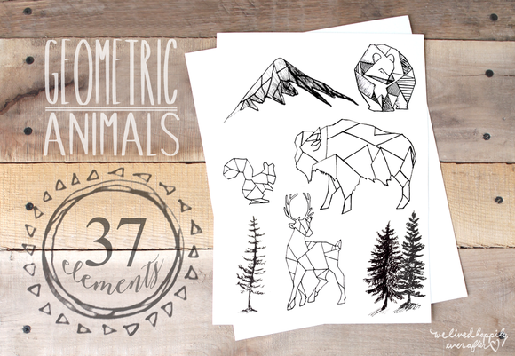 Geometric Animals Rustic Landscape