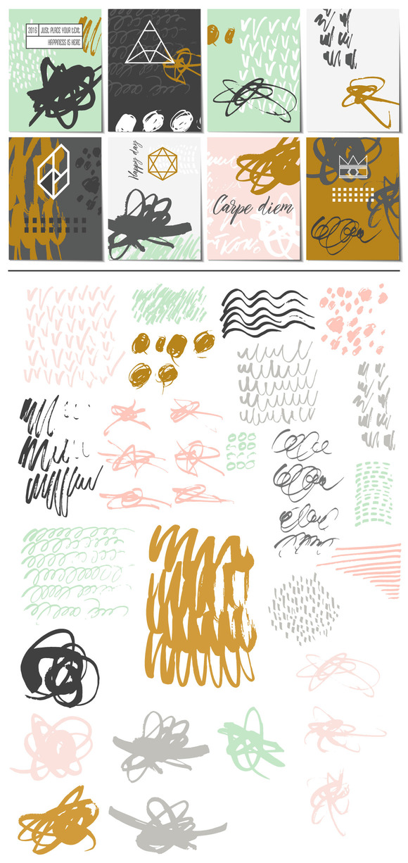 Creative Card Set Vector Elements