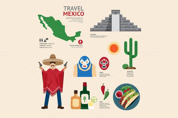 Travel Concept Mexico Landmark Flat