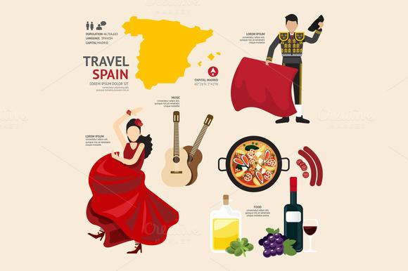 Travel Concept Spain Landmark Flat