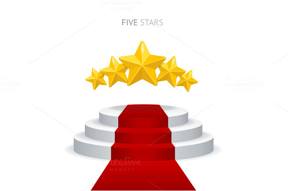 Vector Podium With Red Carpet Stars
