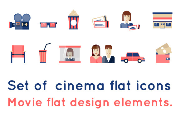Set Of Cinema Flat Icons