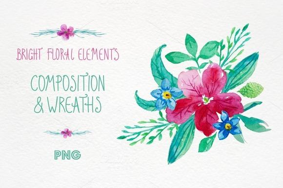 Bright Floral Elements Watercolour