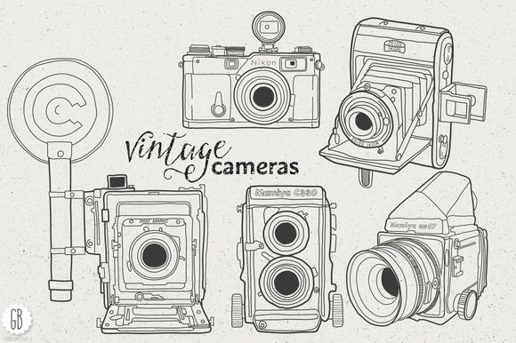 Vintage Cameras Hand Drawings