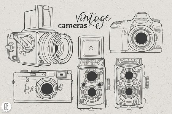 Vintage Cameras Hand Drawn II
