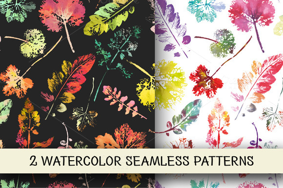 2 Watercolor Leaves Patterns