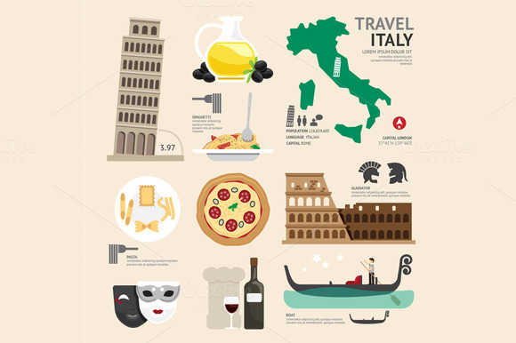 Italy Flat Icons Design Travel Conce