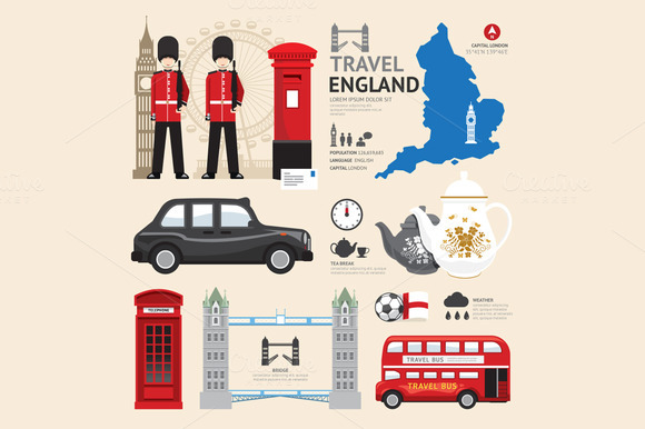 London United Kingdom Flat Icons