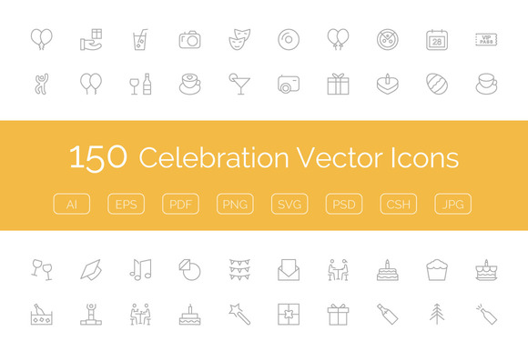 150 Celebration Vector Icons