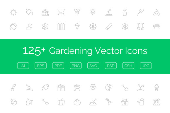 125 Gardening Vector Icons