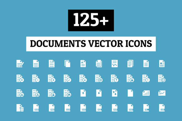 125 Documents Vector Icons