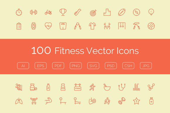 100 Fitness Vector Icons