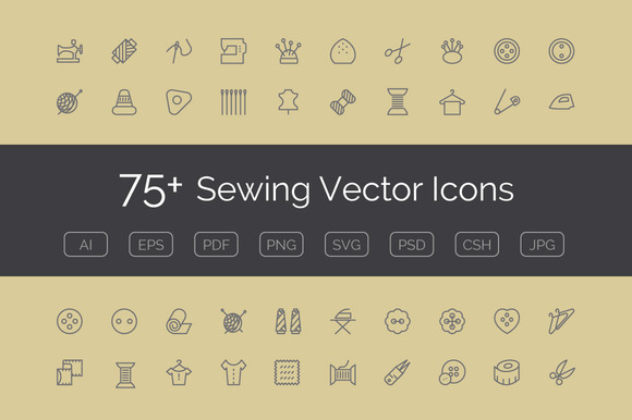75 Sewing Vector Icons