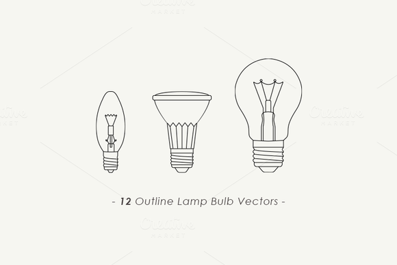 Outline Lamp Bulb Vectors