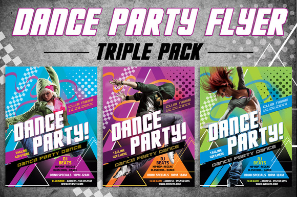 3 Dance Party Flyer