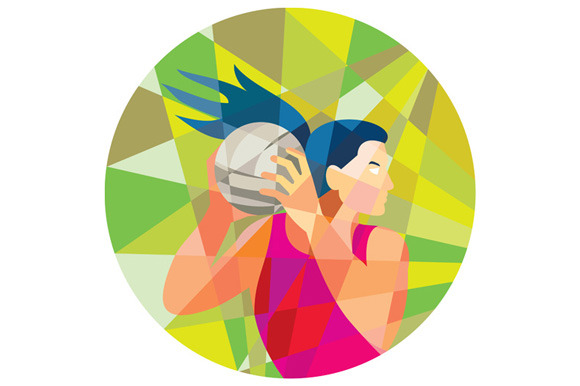 Netball Player Ball Rebound Low Poly
