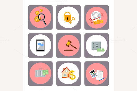 Set Of Money Finance Banking Icons