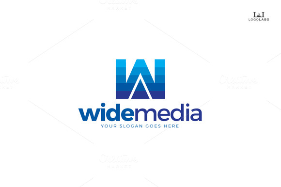 Wide Media Letter W Logo