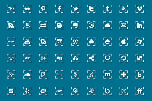 Social Media Icons With Shadow