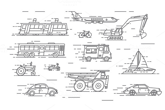 Vector Linear Transport Icons