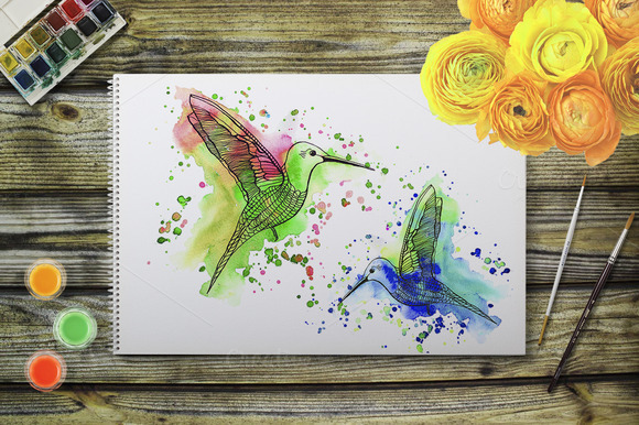 Watercolor Hummingbird With Splashes