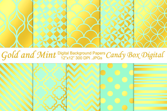 Gold Foil Mint Background Papers
