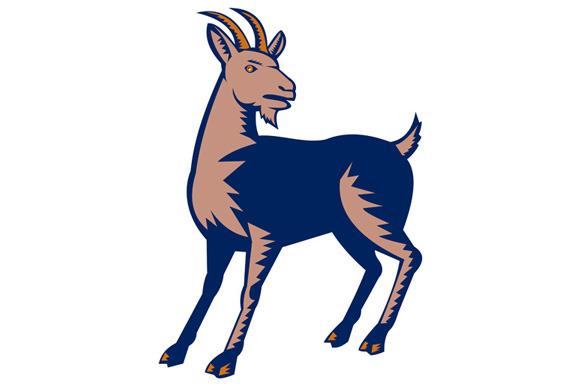 Mountain Domestic Goat Woodcut