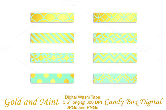 Gold Foil Mint Digital Washi Tape