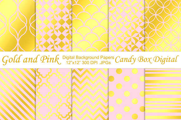 Trendy Gold Foil Pink Papers