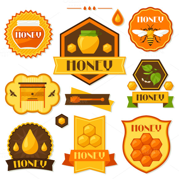 Set Of Honey Labels And Icons