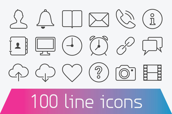 100 Thin Line Icons Basic Set