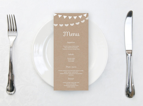 Printable Wedding Menu Kraft Paper
