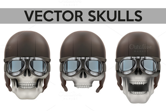 Set Of Human Skulls Aviator Helmet