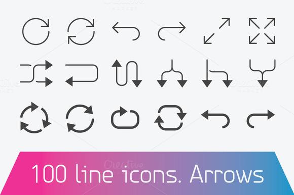 100 Line Icon Set Arrows